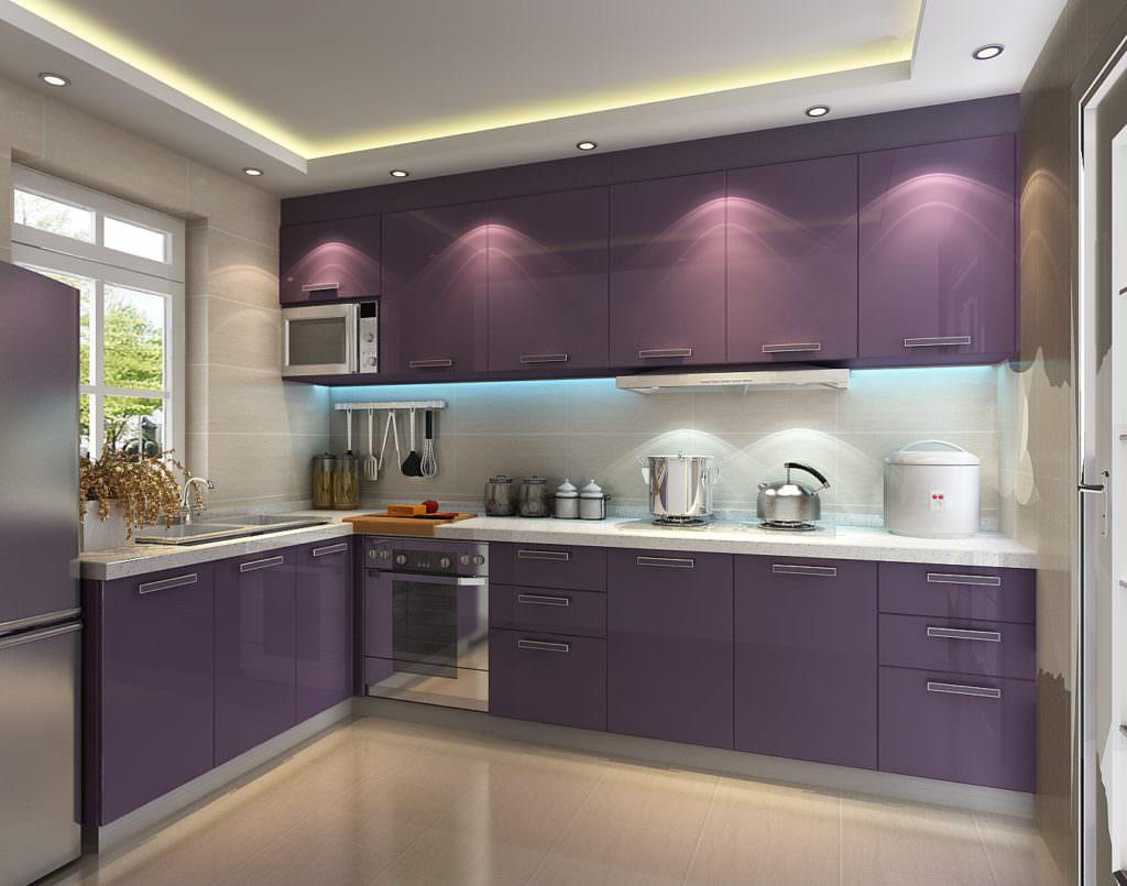 Кухня фиолетовая белая  № 1839204 загрузить