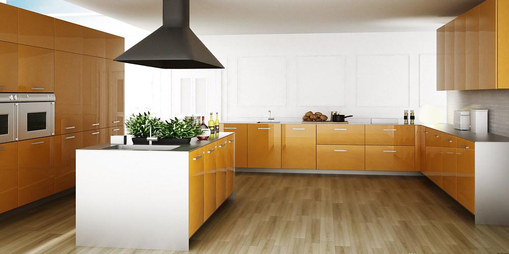 «Алвик» (10) модерн, островная, желтый и оранжевый