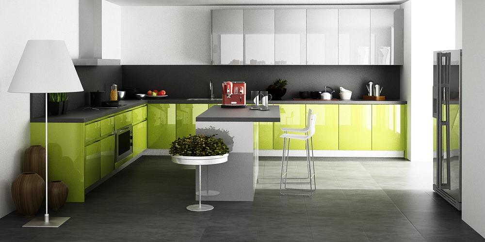 «Алвик» (14) модерн, угловая, островная, белый и зеленый