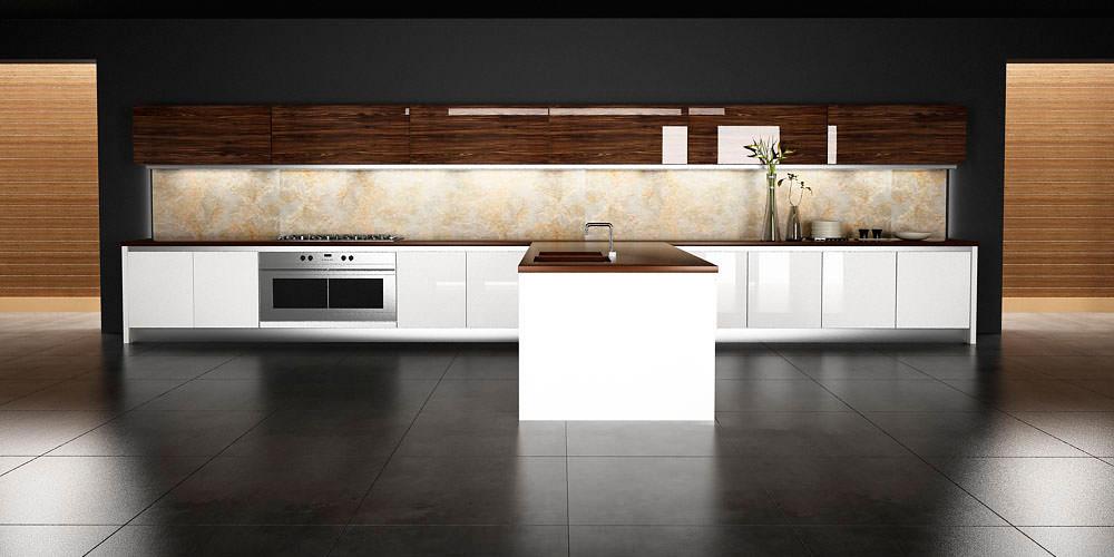 «Алвик» (13) модерн, островная, прямая, белый и коричневый