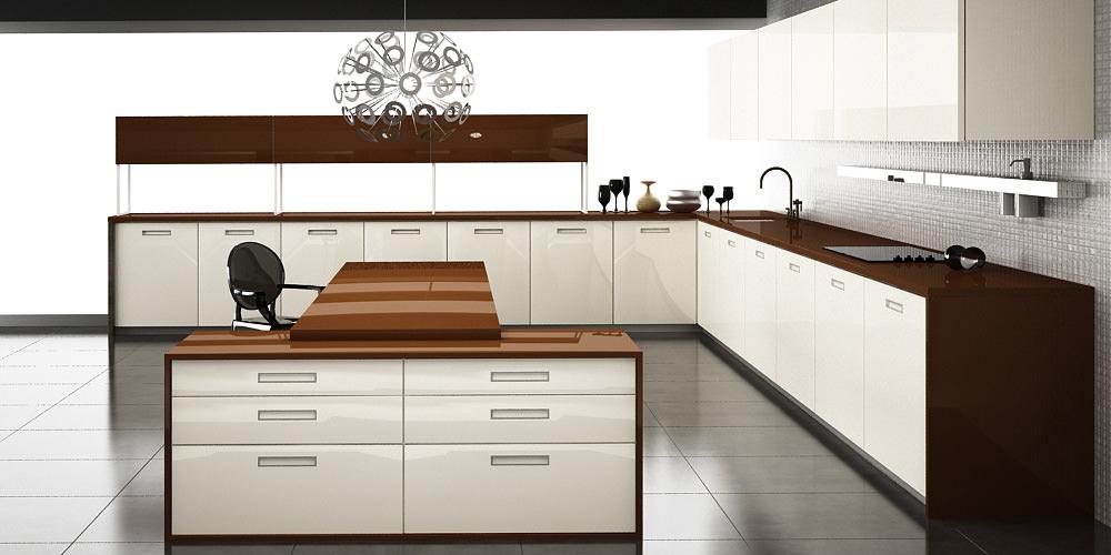«Алвик» (12) модерн, островная, белый и коричневый