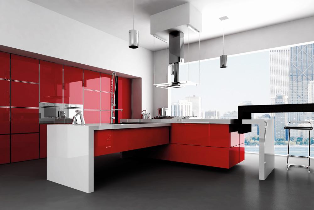 «Алвик» (8) модерн, островная, красный