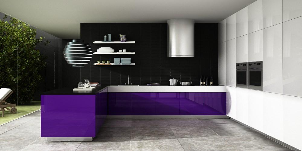 «Алвик» (5) модерн, п-образная, белый и фиолетовый