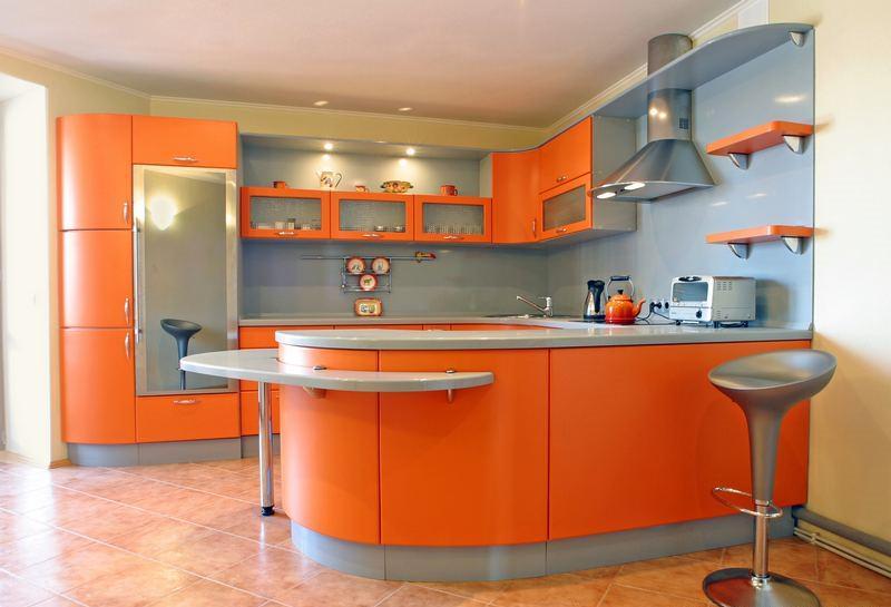 «Руфина» (14) модерн, п-образная, с барной стойкой, оранжевый