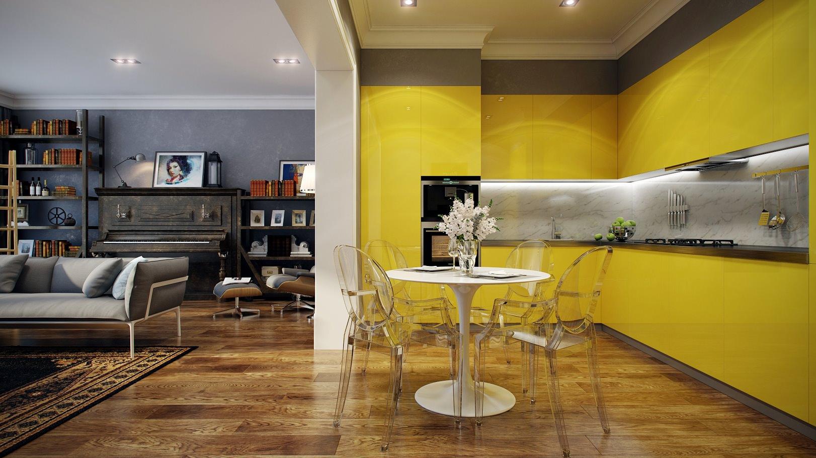 «Руфина» (11) лофт, угловая, студия, желтый