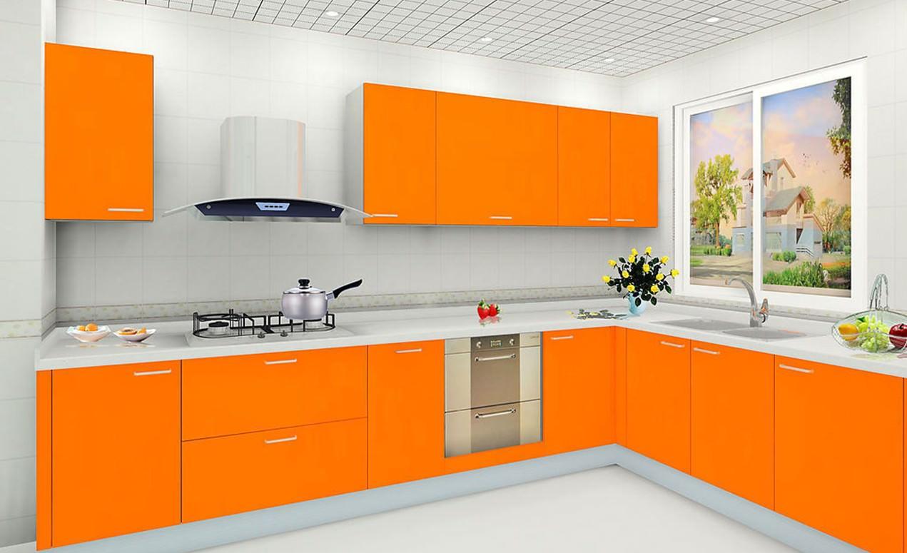 «Руфина» (10) минимализм, модерн, прямая, угловая, оранжевый