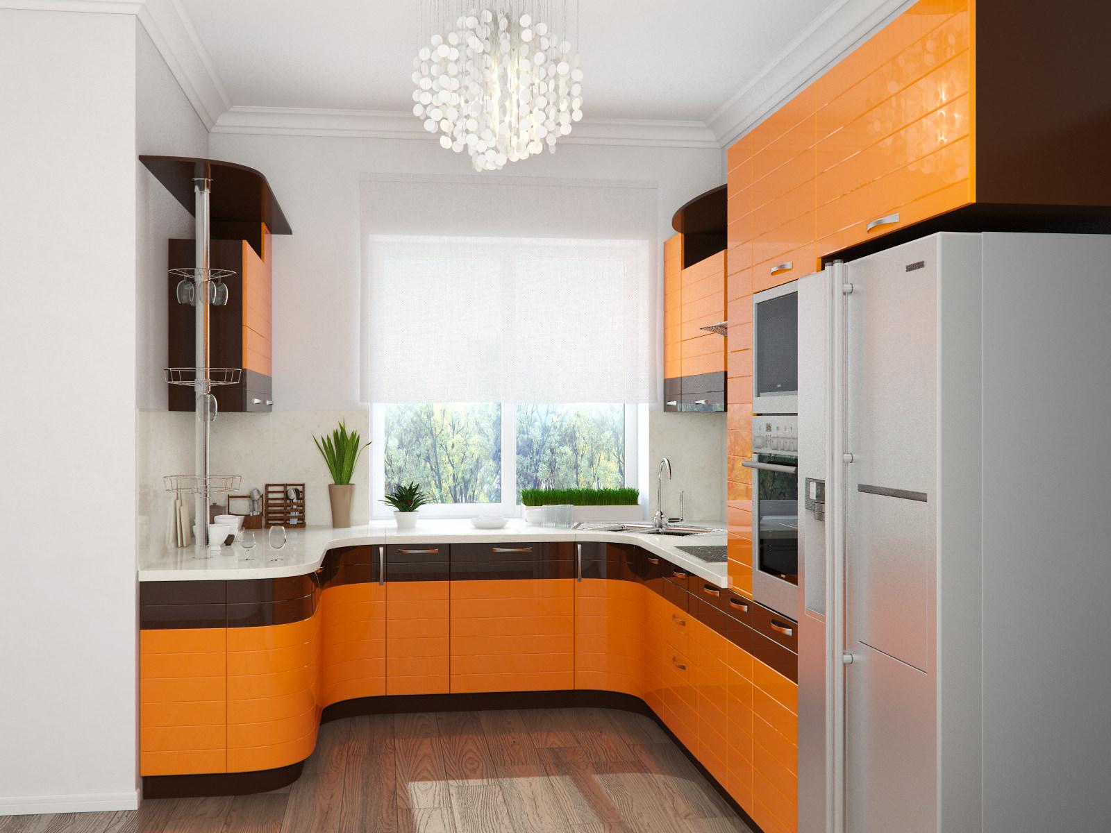 п-образная, оранжевая, с барной стойкой