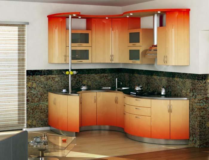 «Алена» (4) модерн, п-образная, с барной стойкой, студия, желтый, оранжевый