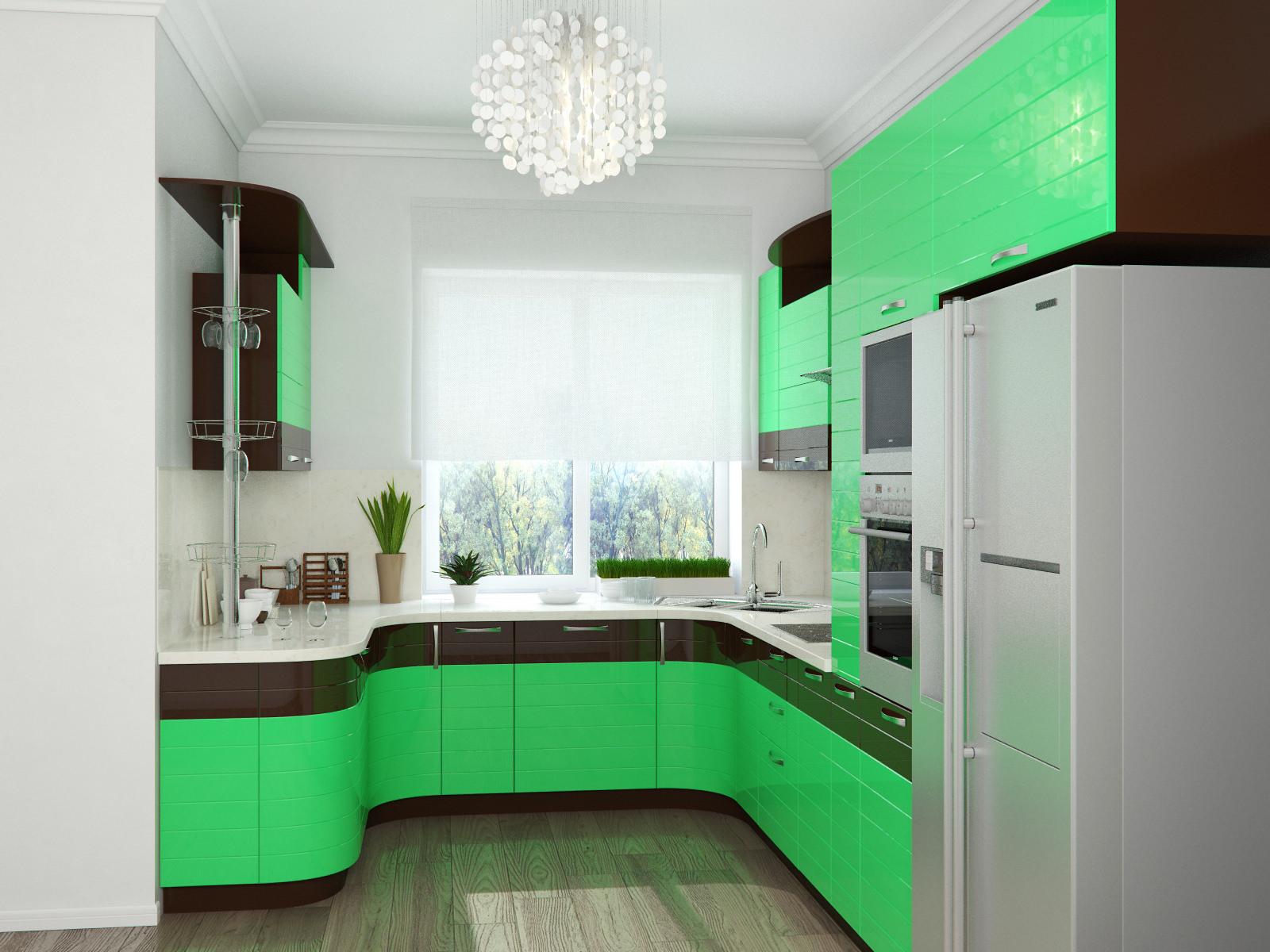 п-образная, зеленая,с барной стойкой