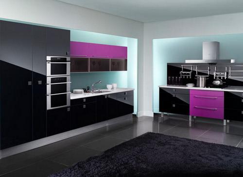 «Мадлен» (6) модерн, прямая, две стены, черный, фиолетовый