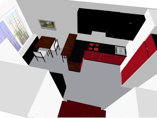 3D проект (10), угловая, прямая, две линии, с барной стойкой
