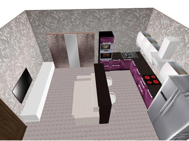 3D проект (4), угловая, с барной стойкой, студия