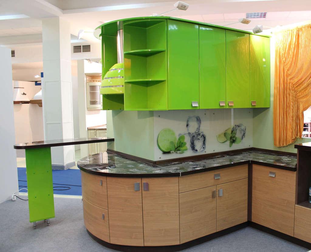 Пластик (3), угловая, п-образная, с барной стойкой, зеленый, коричневый