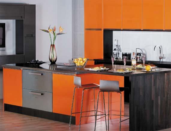 «Милана» (13) модерн, прямая, две линии, островная, коричневый, оранжевый
