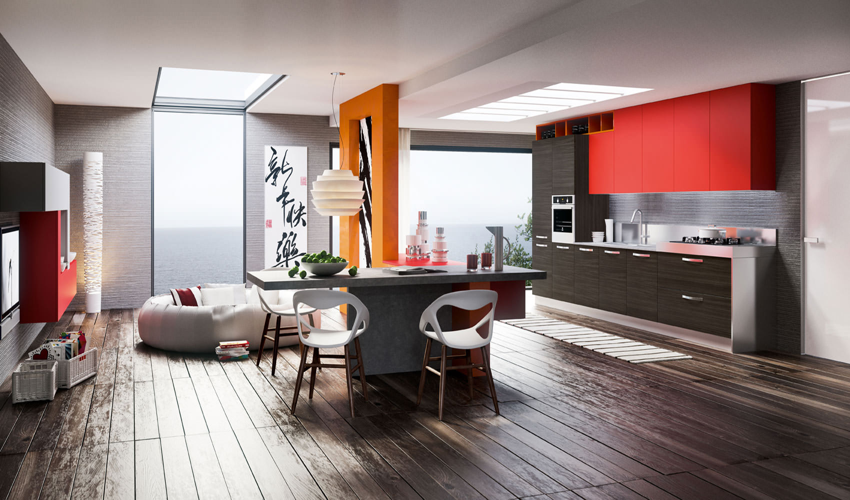 «Милана» (17) лофт, прямая, островная, студия, коричневый, красный