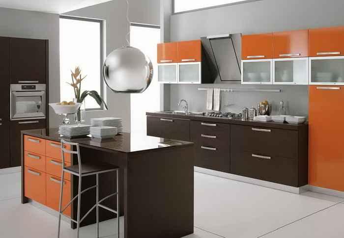 прямая, островная, студия, оранжевая, коричневая