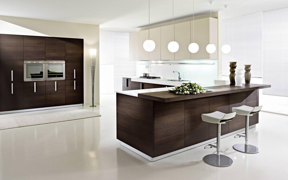 «Милана» (9) модерн, угловая, прямая, с барной стойкой, коричневый, бежевый