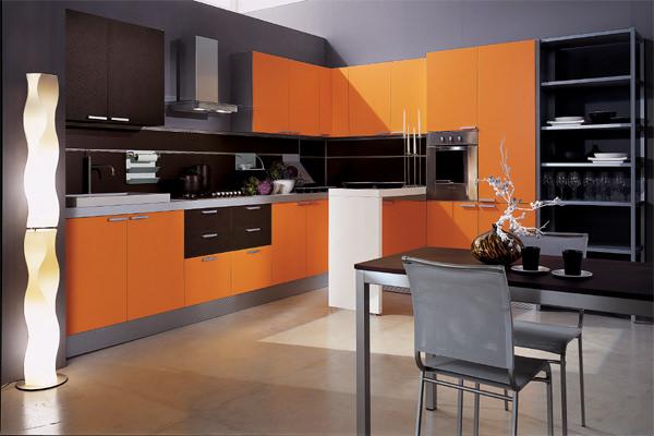 угловая, с барной стойкой, оранжевая, коричневая