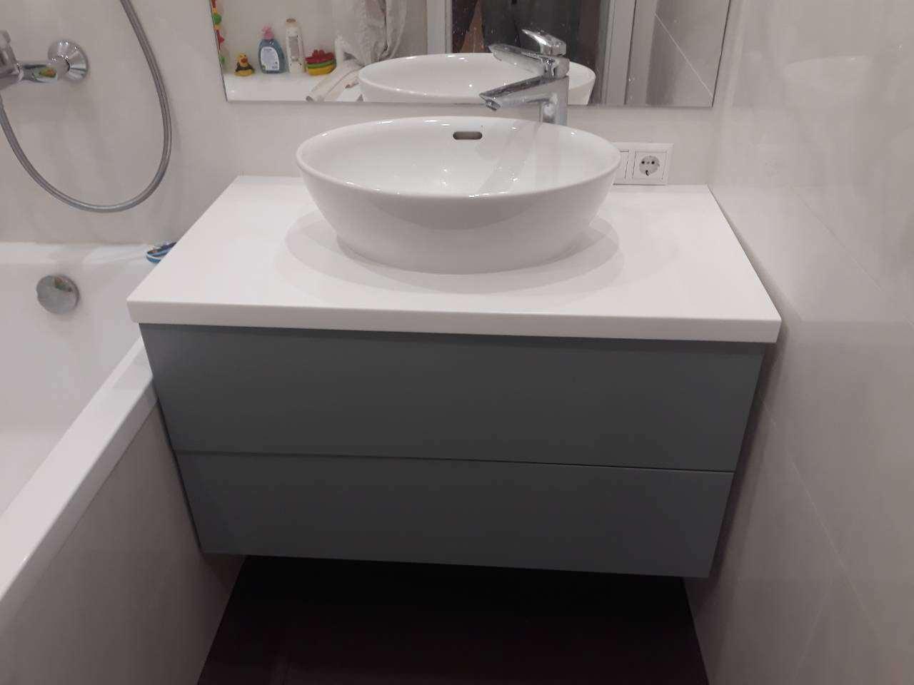 Тумба в ванную из МДФ RAL 7040